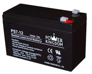 Power Kingdom 12V 7Ah lyijyhyytelö akku T2 - Leveämpi 6,35 mm liiitin