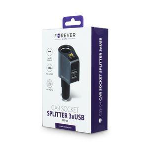 Forever CSS-04 Autolaturi / sovitin 3 x USB, musta