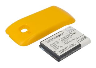 Samsung  GT-S6500, GT-S6500D, Galaxy Mini 2 yhteensopiva tehoakku keltaisella laajennetulla takakannella 2400 mAh