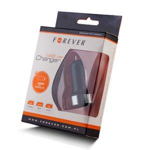 Forever USB Autolaturi + iPhone 5 Lightning Kaapeli, Musta