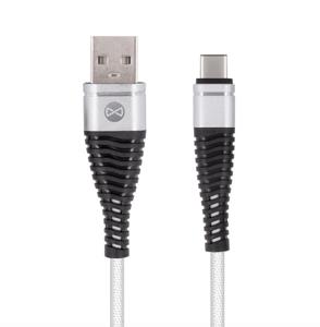 Forever Shark USB Type-C -kaapeli 1 m, hopea