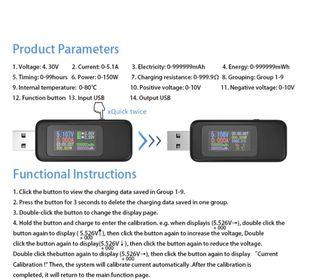 USB virta- / jännitemittari LCD näytöllä