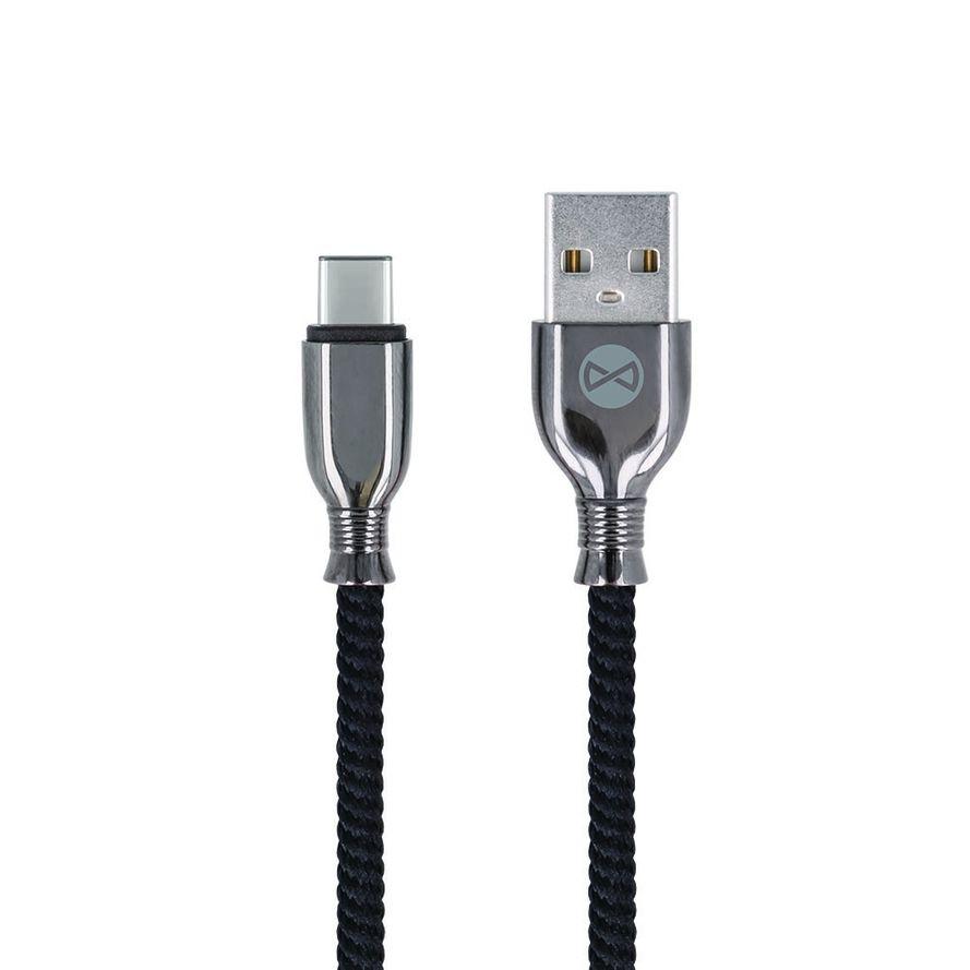 Forever Tornado USB-C lataus- ja synkronointikaapeli 1m 3A, musta