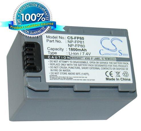Sony NP-FP80, NP-FP81 yhteensopiva akku 1800 mAh