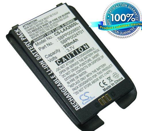 LG AX260, LX260, UX260, RUMOR, SCOOP, SCOOP musta akku 950 mAh