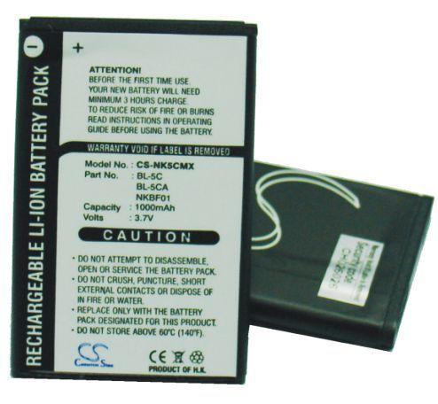 Nokia BL-5C, BL-5CA yhteensopiva akku 1000 mAh