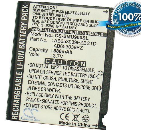 Samsung SGH-U900, SGH-U908, SCH-U940, SCH-U900, FLIPSHOT, U900 Soul akku 880 mAh