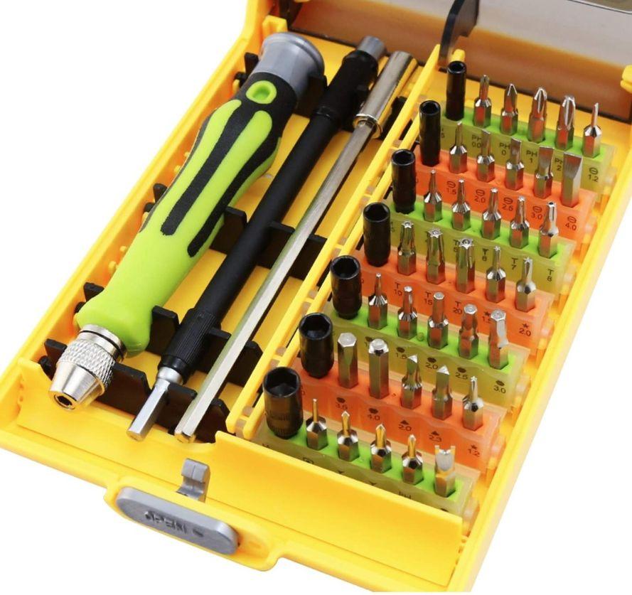 45-Osainen työkalusarja tietokoneiden ja matkapuhelinten korjaamiseen