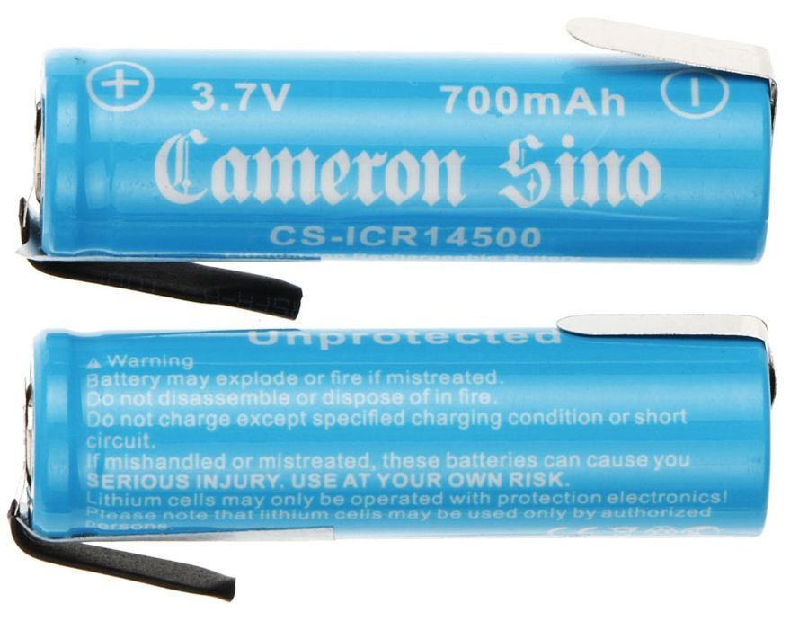 Cameron Sino 14500 Li-ion Akku juotoskorvakkeilla 2kpl 700mAh