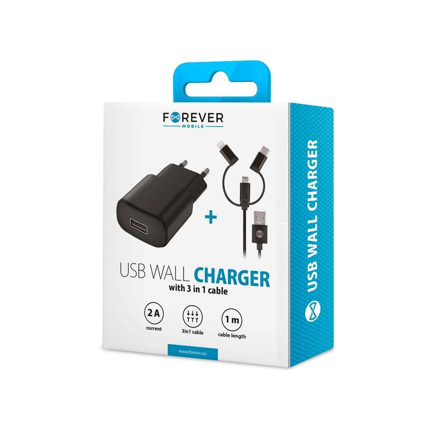 Forever ALLin1 Kaapeli USB + USB-C - Lightning + USB-C + microUSB 1 m 2,4A Musta