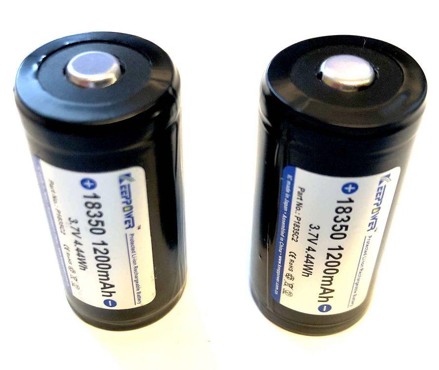 Keeppower IMR 18350 3.7 V Akku 1200 mAh ilman suojapiiriä - 2 kappaleen pakkaus