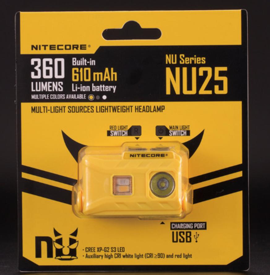 Otsavalaisin Nitecore NU25 360 lm, keltainen