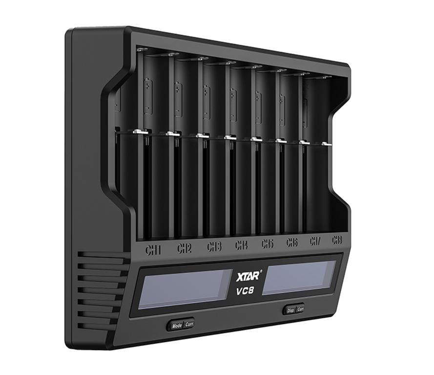 XTAR VC8 USB LCD Li-ion / Ni-MH Akkuparistolaturi, musta