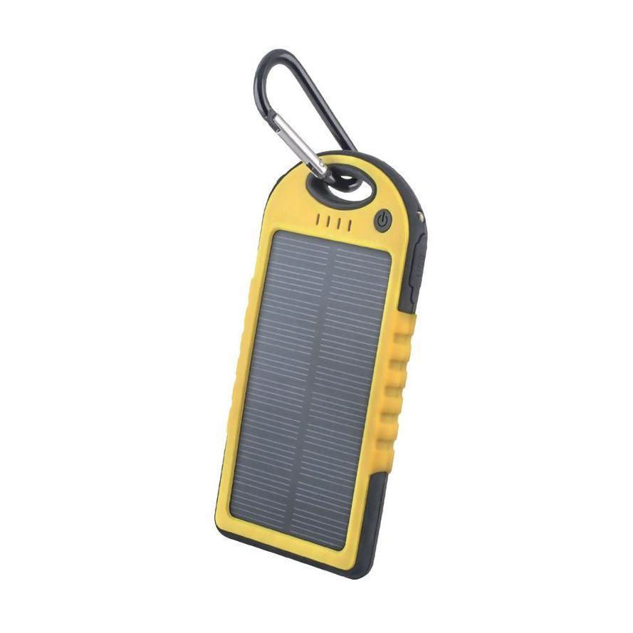 Setty Aurinkokenno Power Bank vara-akku taskulampulla - 5000 mAh - Keltainen