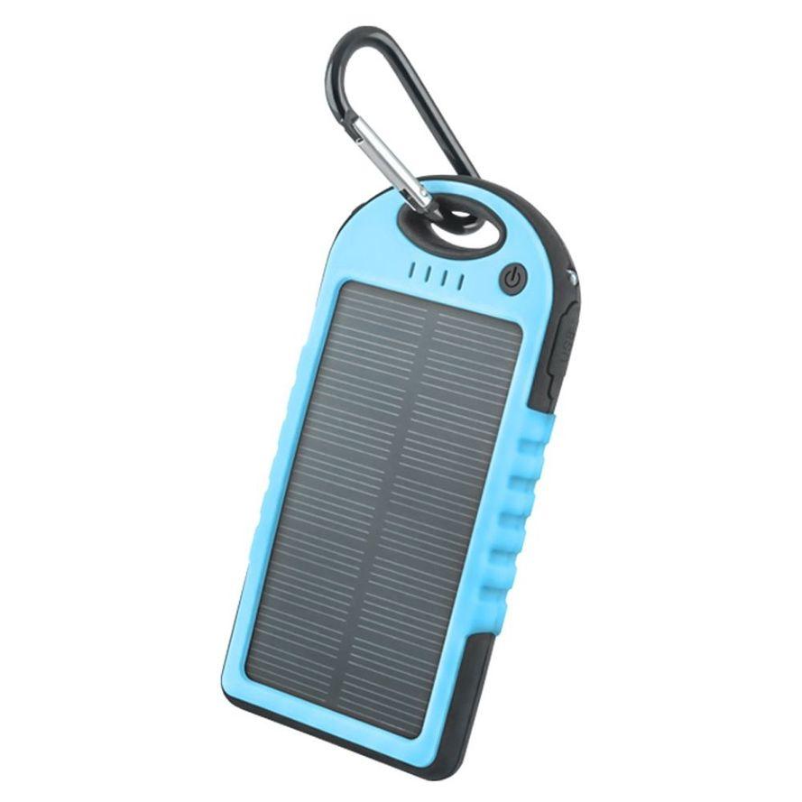 Setty Aurinkokenno Power Bank vara-akku taskulampulla - 5000 mAh - Sininen