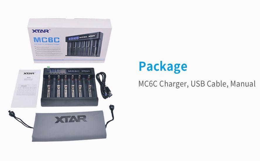 XTAR MC6C Li-ion Akkuparistolaturi USB-liitännällä & digitaalisella näytöllä